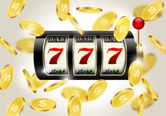 Slot machine with lucky seven and falling golden coins background. Winner casino.
