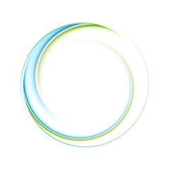 Abstract bright blue green iridescent circle logo