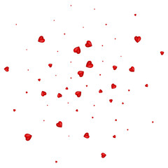 Heart confetti of Valentines petals falling on white background. Flower petals