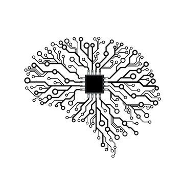 Vector printed circuit board human brain. Concept illustration of cpu in the center of computer system