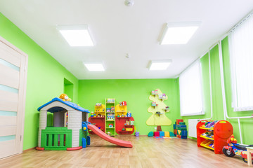 Green game room in the kindergarten.