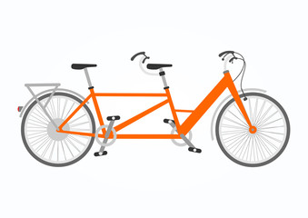 Vector illustration of tandem bicycle in flat style