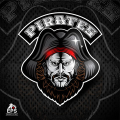 Beard man face with cocked hat. Logo for any sport team pirates