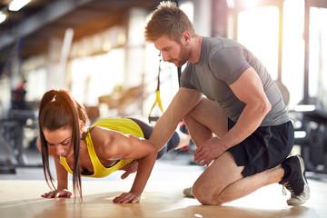 Fitness instructor on job