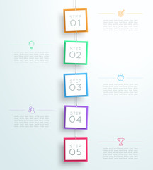 Infographic 5 Steps In 3d Hanging Signs Template C