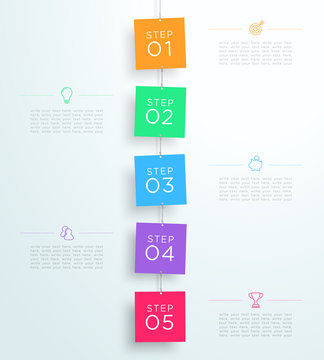 Infographic 5 Steps In 3d Hanging Signs Template D