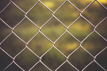 a nice chain link fence in front of green grass in a park or yard