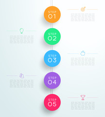 Infographic 5 3d Circle Steps Hanging Template D