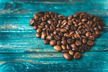 coffee beans on a blue background