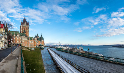 Fotomurales - Frontenac Castle and Dufferin Terrace - Quebec City, Quebec, Canada