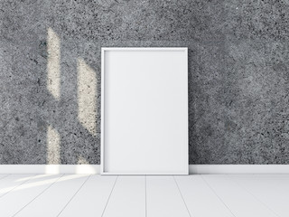 White Frame with Poster canvas Mockup standing near concrete wall on the floor. 3d rendering