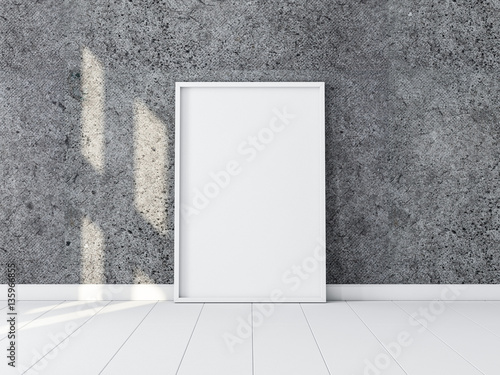 White Frame with Poster canvas Mockup standing near concrete wall on ...