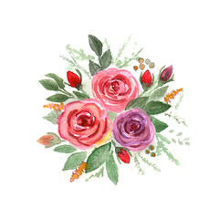 Hand drawn watercolor illustration with floral roses elements on