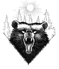 Door stickers Hand drawn Sketch of animals Angry bear and forest