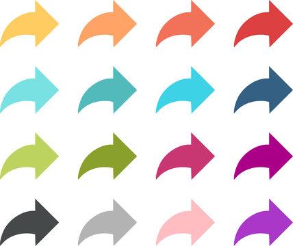 Flèches courbées et colorées