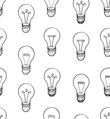 Bulb background.  Electric lamp seamless pattern. Energy light doodle ornament