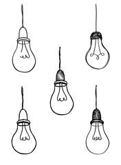 Lamp bulb collection. Light icon set. Hand drawn sketch illustration