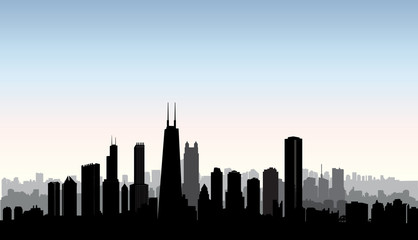 Chicago city buildings silhouette. USA urban landscape. American famous skyline