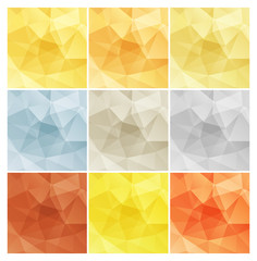 Vector shiny polygonal rectangular blank backgrounds in gold whi