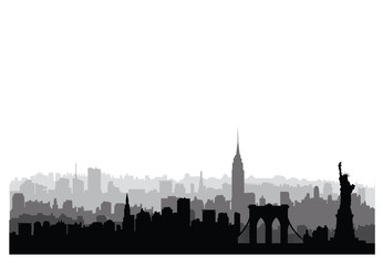 New York City buildings silhouette. American urban landscape. NYC skyline, USA landmarks