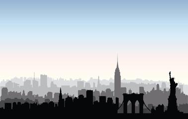 New York City buildings silhouette. American urban landscape. NYC skyline, USA landmarks buildings silhouette. American urban landscape. Ne