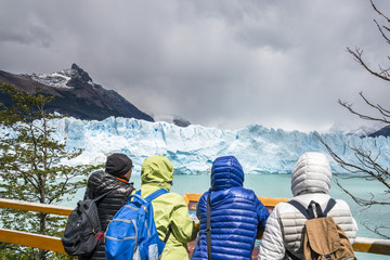 Tourist watching on the Perito Moreno Glacier. El Calafate, Argentina. Los Glaciares National Park, Patagonia.
