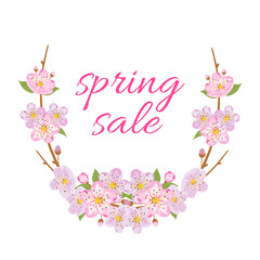 "Spring sale illustration with text ""Spring Sale"". Sakura wreaths. Vector illustration."