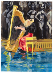 Tempera technique on paper. An hand painted picture, illustration. Music theme.  Musician - Harp player.