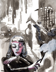 Tempera technique on paper. An hand painted picture, illustration. Music theme.  Musician - trumpeter and smoking woman.