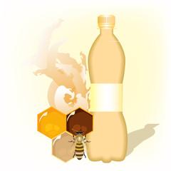 бутылка с медовой водой на белом фоне, векторная иллюстрация