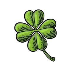 Good luck four leaf clover. Vintage vector engraving illustration for info graphic, poster, web. Black on white background