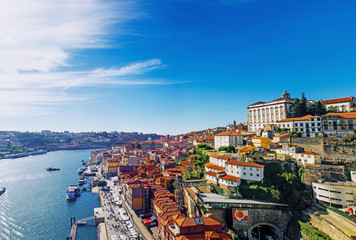Porto, Portugal old town skyline from Dom Luis bridge