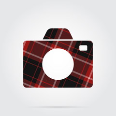 red, black tartan isolated icon - camera