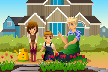 Mother and Children Gardening during Spring Season
