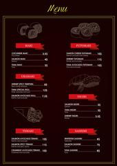 Menu Sushi Bar - vector illustration