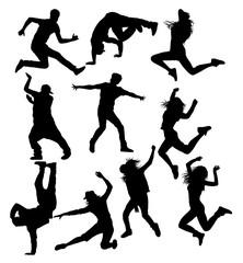 Hip Hop Street Dancing Silhouettes, art vector design