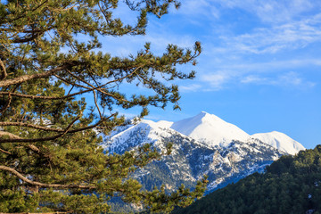 mount Taygetos covered by snow