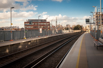 Train station, overground rail network of London TFL, Imperial Wharf.
