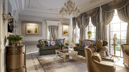 Luxurious baroque living room Wall mural