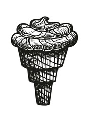 ice cream in a waffle cone sketch. vector illustration