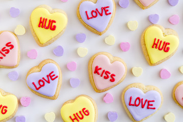 Conversation Heart Decorated Cookies