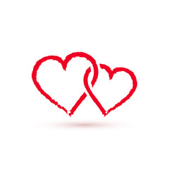 Two Red hearts symbol, vector icon.