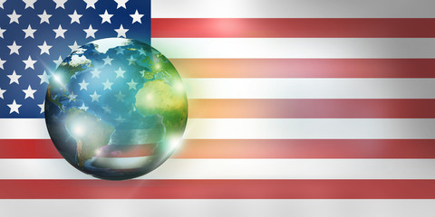 USA america 3d render globe and flag. Elements of this image furnished by NASA.