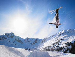 Professional skier jumping