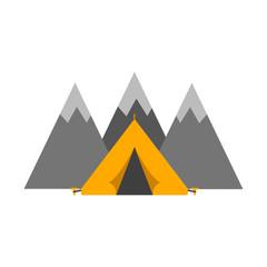 Outdoor tent mountaineering sport vector illustration.