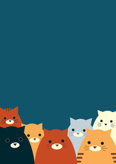 Vector illustration. Dark blue background with a group of seven cats in the bottom part of the page. Vertical format A4.