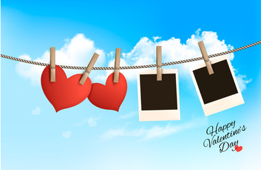Background with two hearts and two photos. Valentine's day vecto