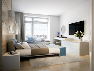 Bright and cozy modern bedroom