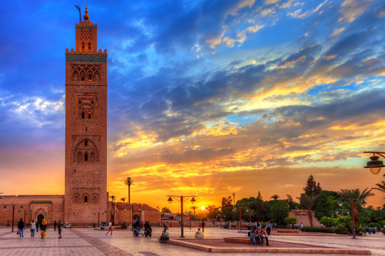 Koutoubia mosque at an amazing sunset. Marrakesh, Morocco