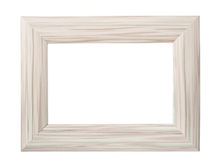Blank white wooden photo frame.